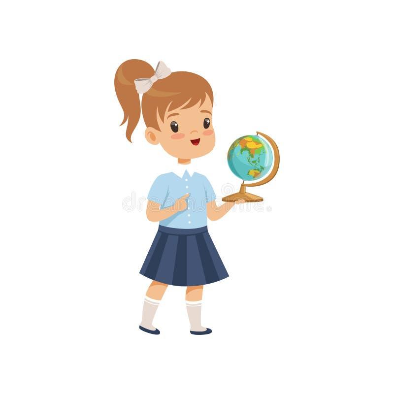 Flickaanseende med jordklotet på geografikursen, elev i skolalikformig som studerar på skolavektorillustrationen på en vit stock illustrationer