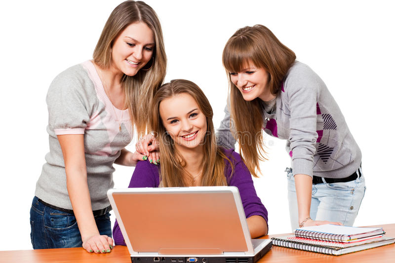 flickaanteckningsbokdeltagare arkivfoto