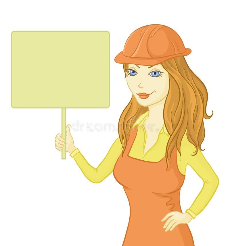 Flickaarbetare som rymmer ett tecken stock illustrationer
