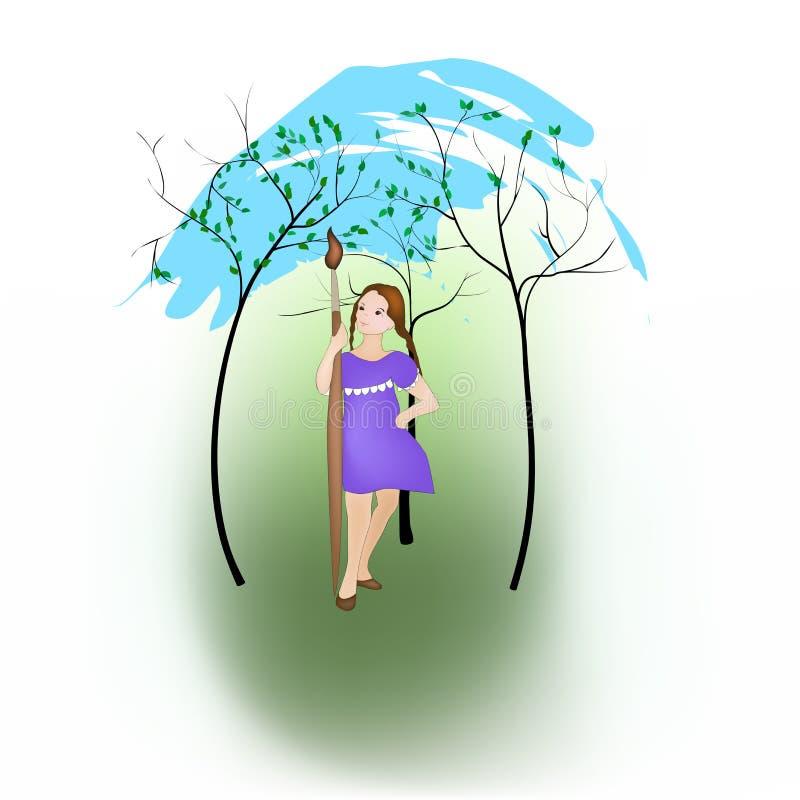 Flickaattraktionvår royaltyfri illustrationer