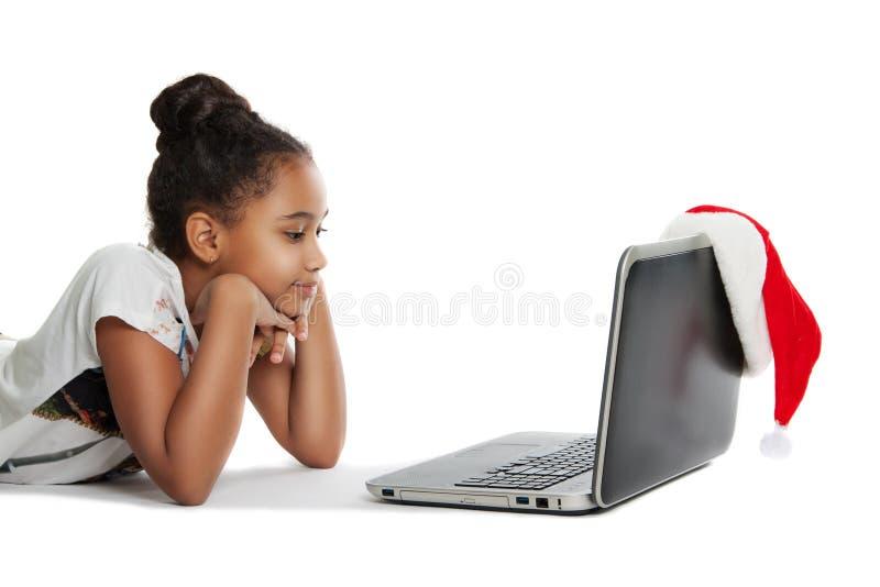 flickabärbar dator arkivfoto