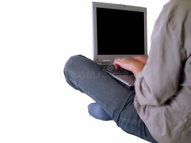 flickabärbar datorskrivande royaltyfri bild
