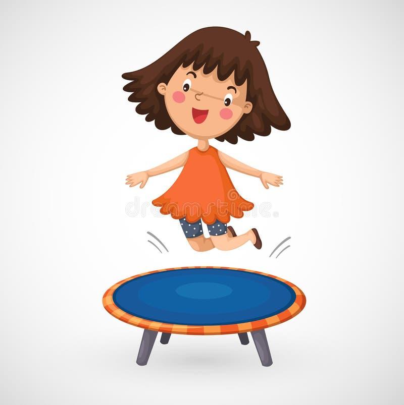 Flickabanhoppning på en trampolin stock illustrationer