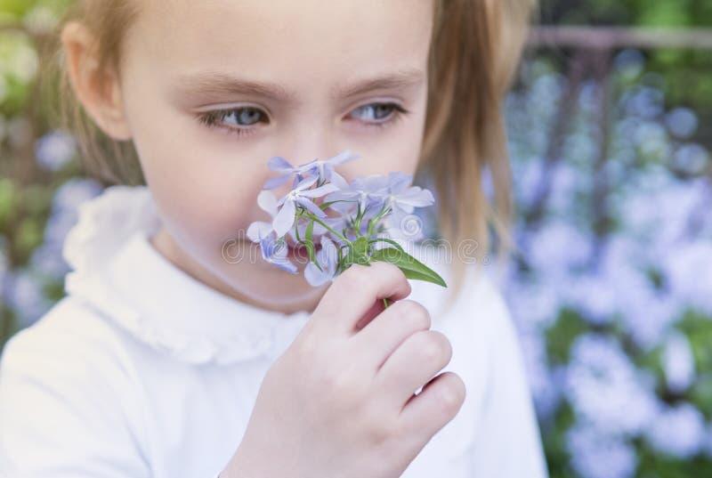 Flickabarn som sniffar blommor, närbild arkivfoton