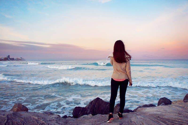 Flickablick på Atlanticet Ocean i Miamiet Beach royaltyfria foton