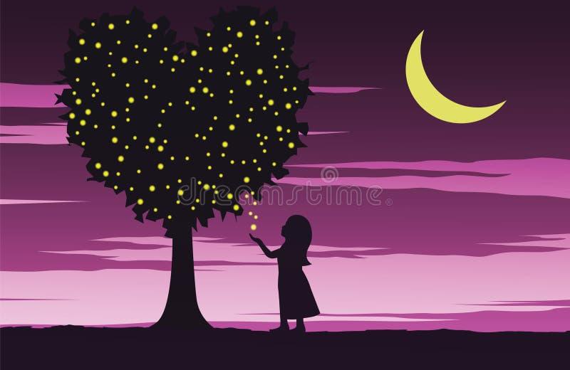 Flickablick till eldflugan på hjärtaformträd betyd att älska för att fullgöra med ljus, nattetid med rosa färg vektor illustrationer