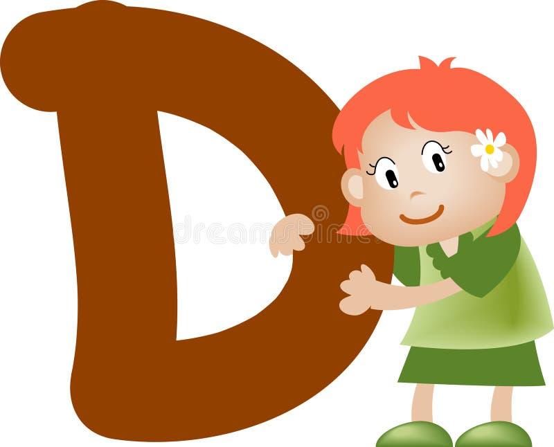 flickabokstav för alfabet D stock illustrationer