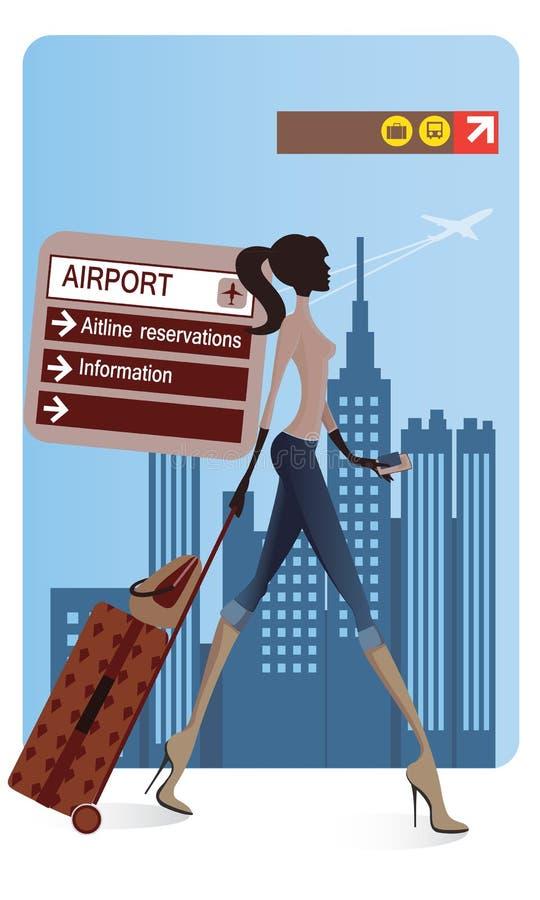 Flickabrådskorna i flygplatsen royaltyfri illustrationer