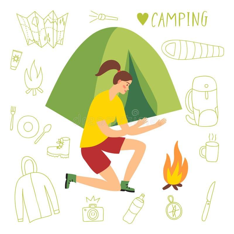Flickacamparesammanträde nära tältet och branden royaltyfri illustrationer