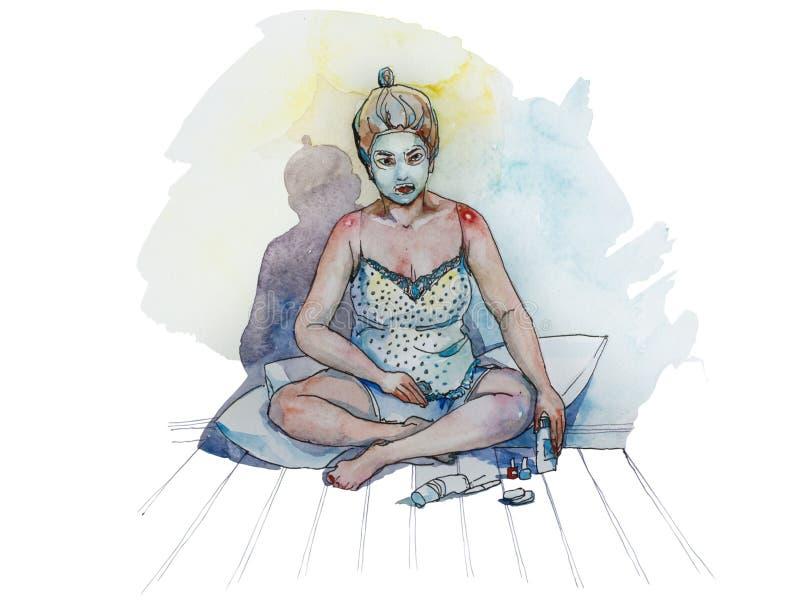 Flickadanandebrunnsort hemma, grön ansikts- maskering på hennes hud och henne c royaltyfri illustrationer