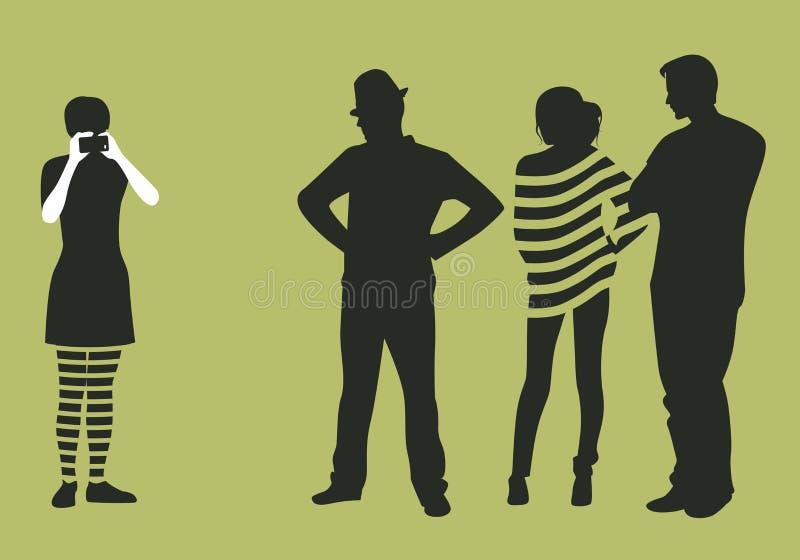 Flickadanandefoto eller filmer med telefonen och gruppen av tre stock illustrationer