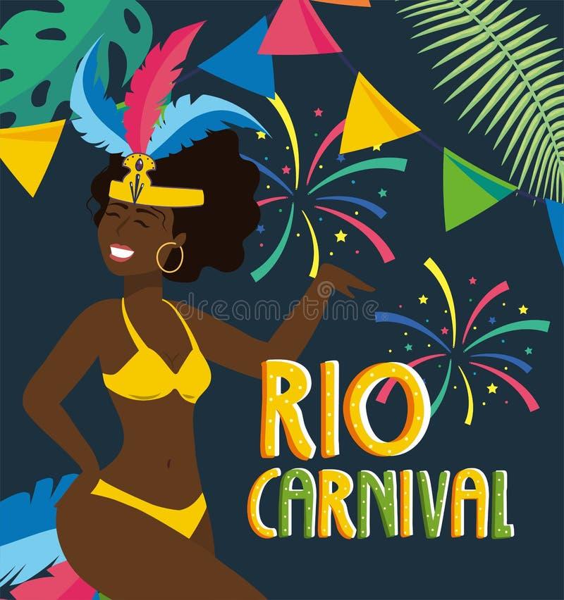 Flickadansare med dräkten och fyrverkerier till karnevalet royaltyfri illustrationer