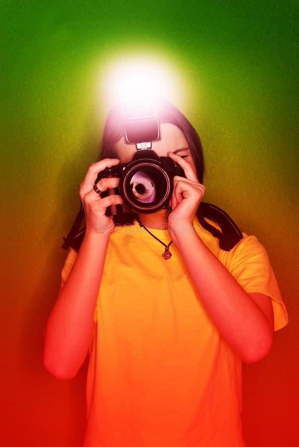 Flickafotograf arkivbild
