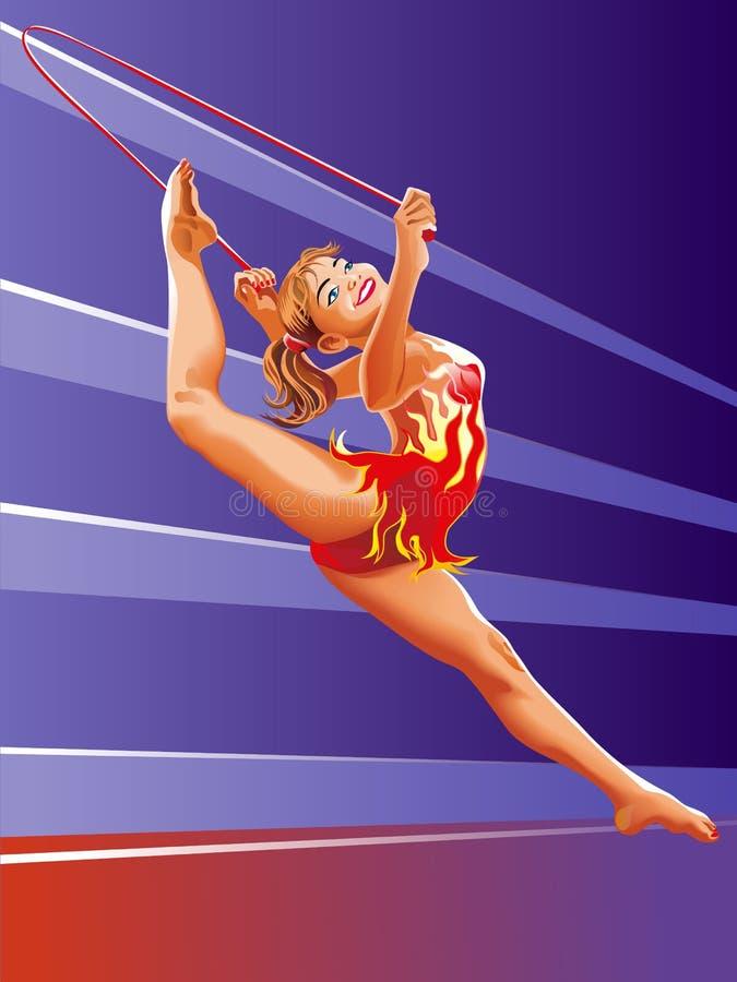 Flickagymnast med det röda banhoppning-repet stock illustrationer