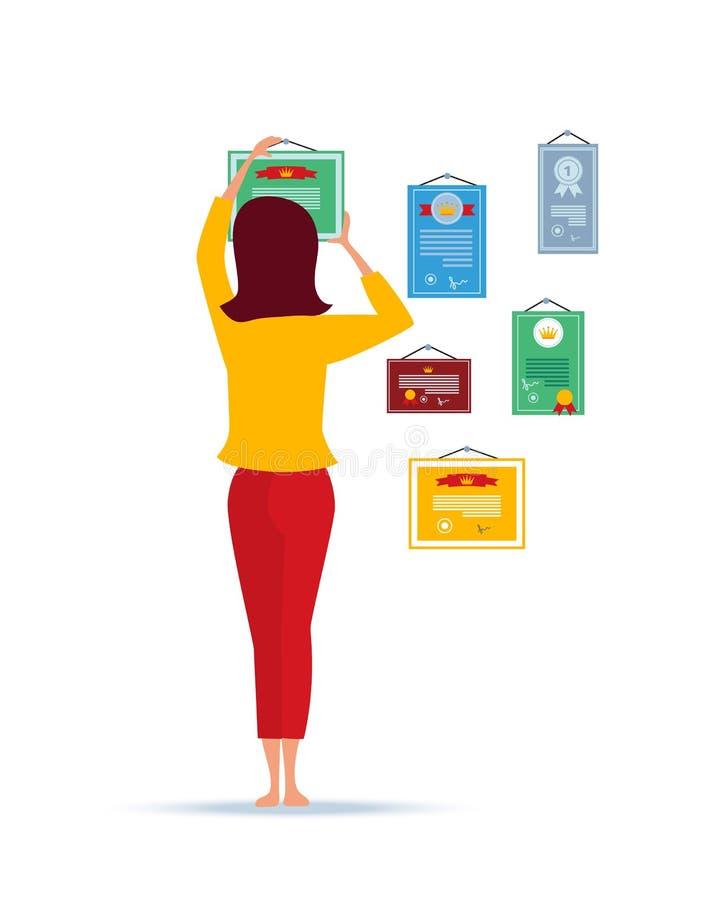 Flickahängning på väggutmärkelser för arbete, sporten, intellektuell bekämpar stock illustrationer