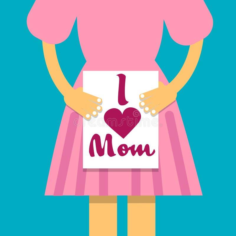 Flickahållbanret älskar jag mamman, mors dagferie, dotter med hälsningkortet vektor illustrationer