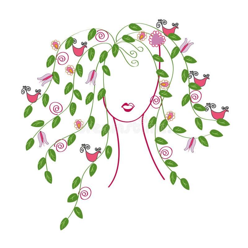 flickahårleaves stock illustrationer
