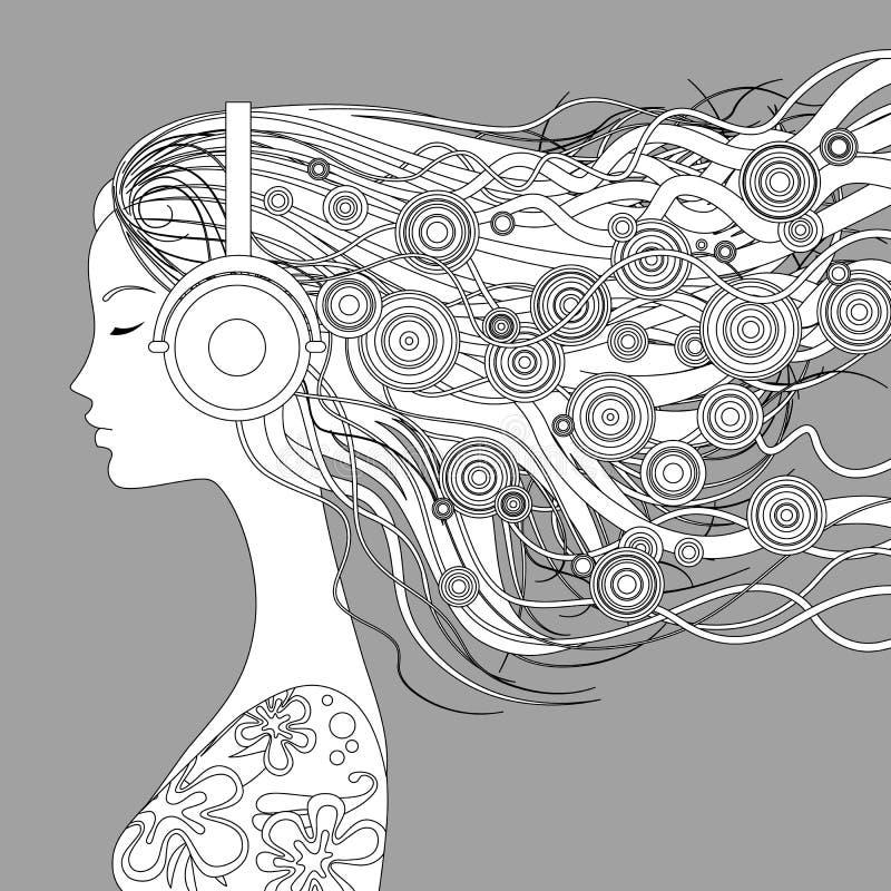 Flickahalva-framsidan med löst hår och abstrakta beståndsdelar lyssnar till M royaltyfri illustrationer