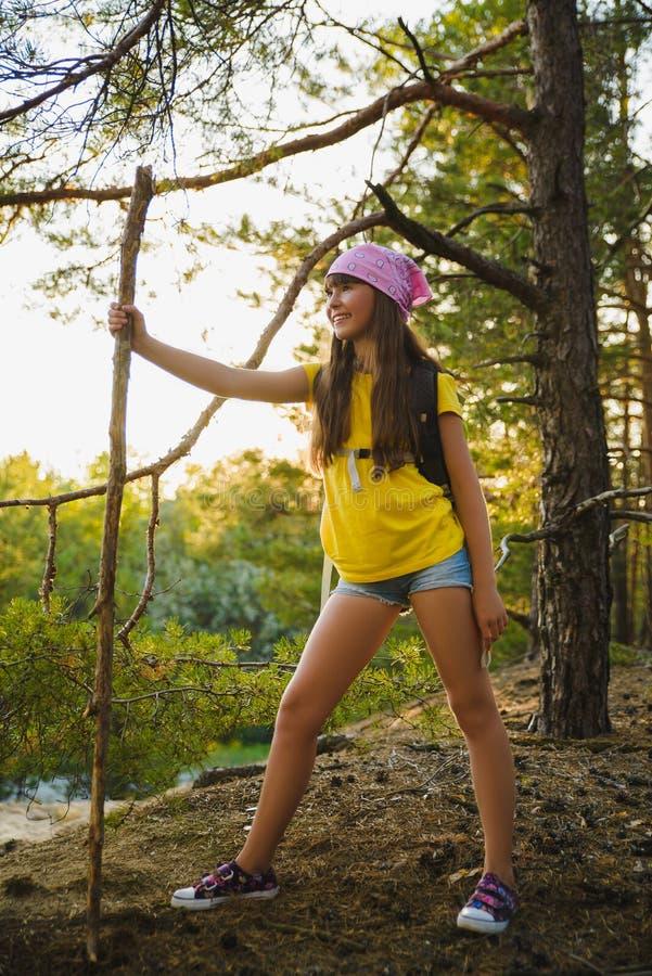 Flickahandelsresande med ryggsäcken i kulleskogaffärsföretaget, lopp, turismbegrepp royaltyfri foto