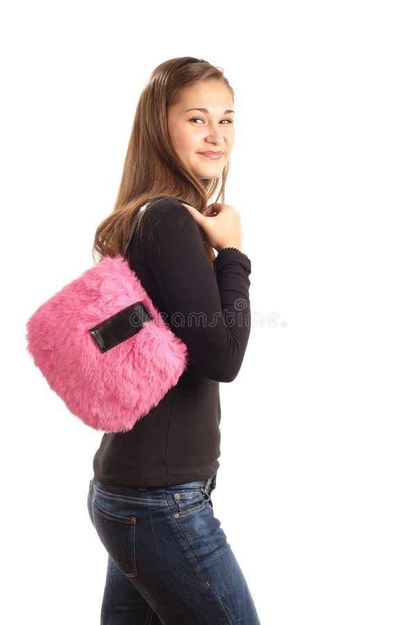 flickahandväskapink arkivfoto