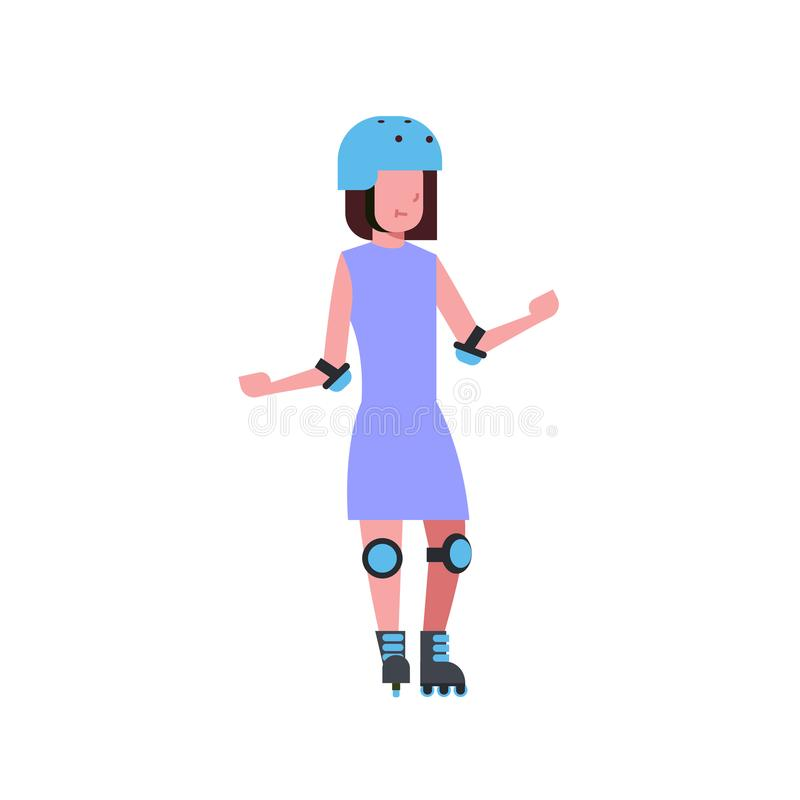 Flickahjälmrulle som åker skridskor över tecken för längd för tecknad film för vit bakgrund rollerblading fullt Plan stil vektor illustrationer
