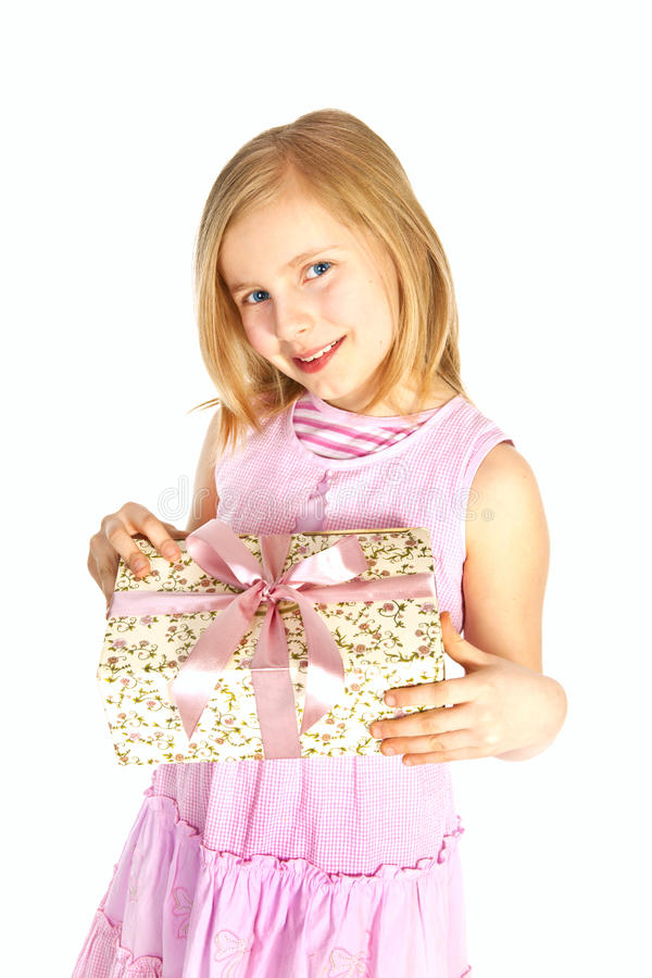 flickaholding över le white för present royaltyfria foton