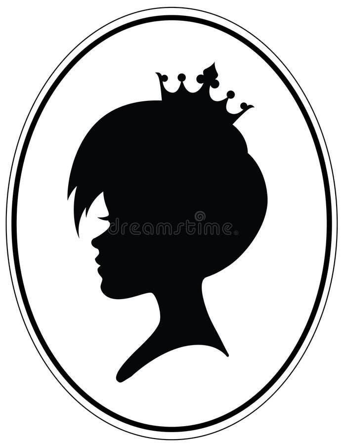 Flickahuvud med modern frisyr och kronan vektor illustrationer