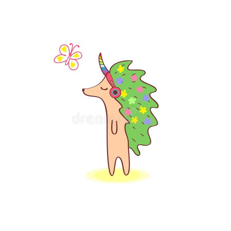 Flickaigelkott med blommor på huden som går och lyssnar till musik i rosa hörlurar Stäng hans ögon royaltyfri illustrationer