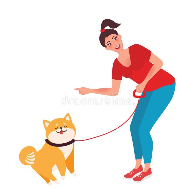 Flickainstruktören som utbildar hunden ocks? vektor f?r coreldrawillustration royaltyfri illustrationer