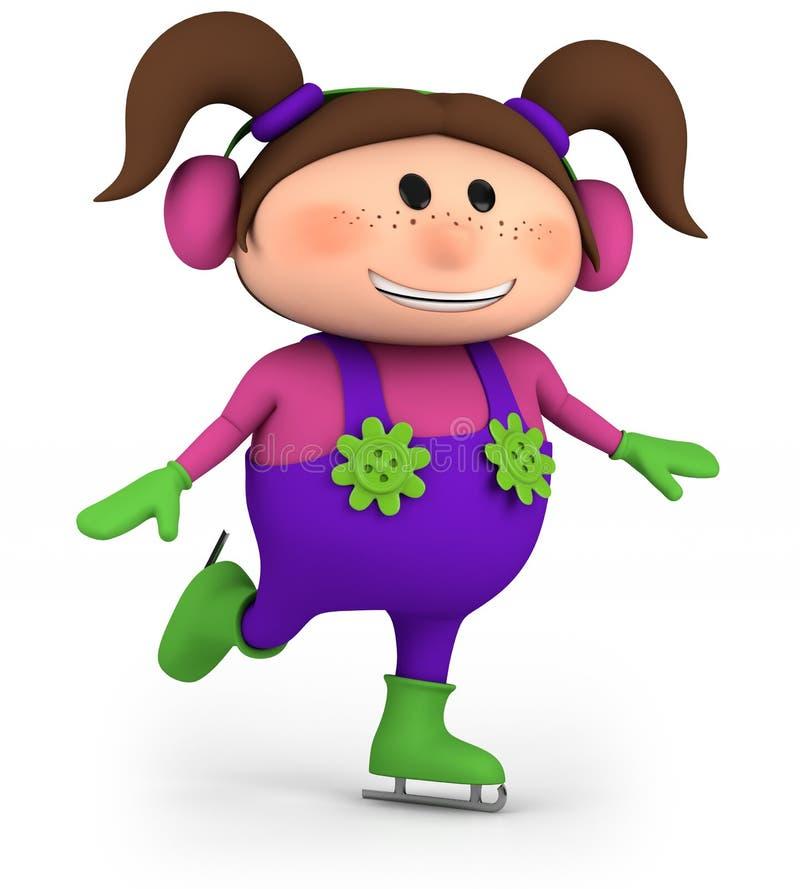 flickais little som åker skridskor royaltyfri illustrationer