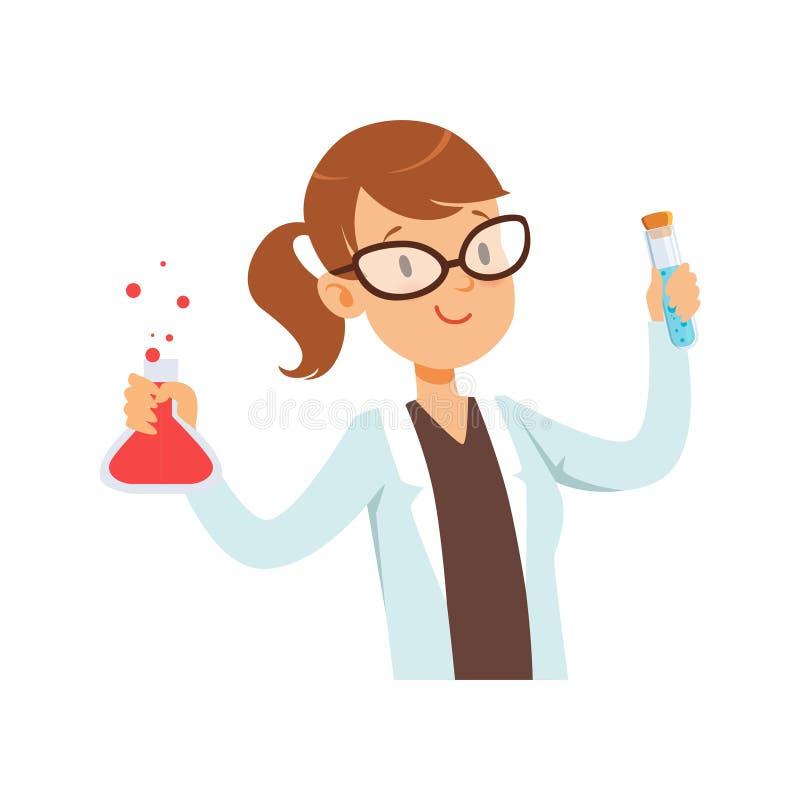 Flickakemisttecken, kvinnlig forskare i den vita illustrationen för vektor för flaska för laginnehavprov vektor illustrationer