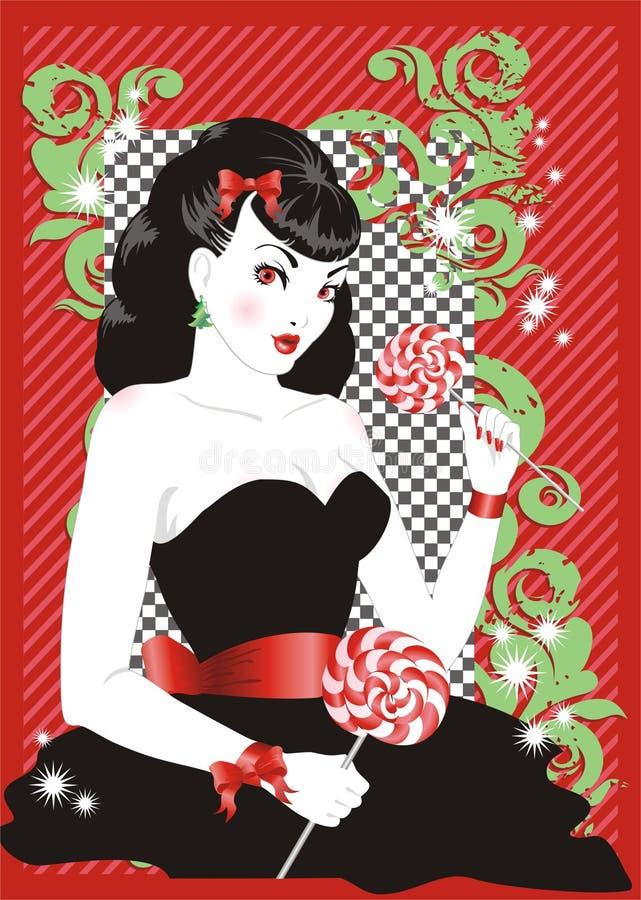 flickaklubbastift upp stock illustrationer
