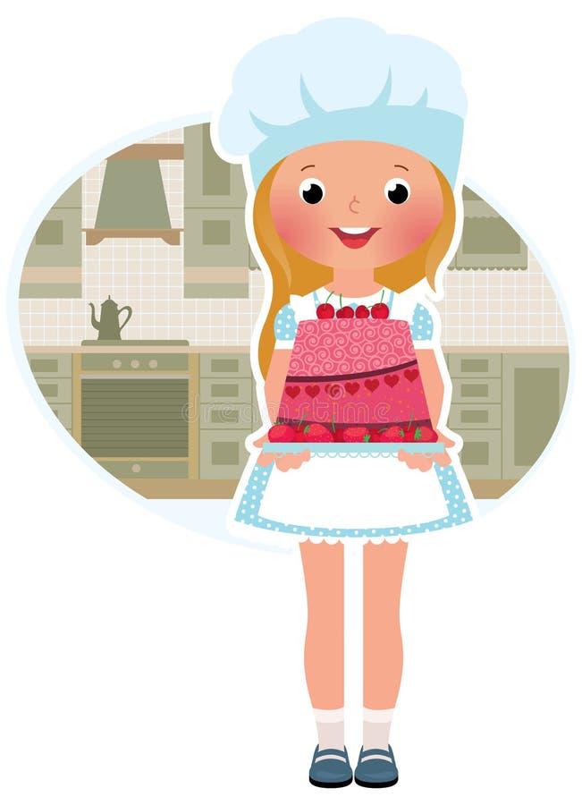 Flickakock med caken stock illustrationer