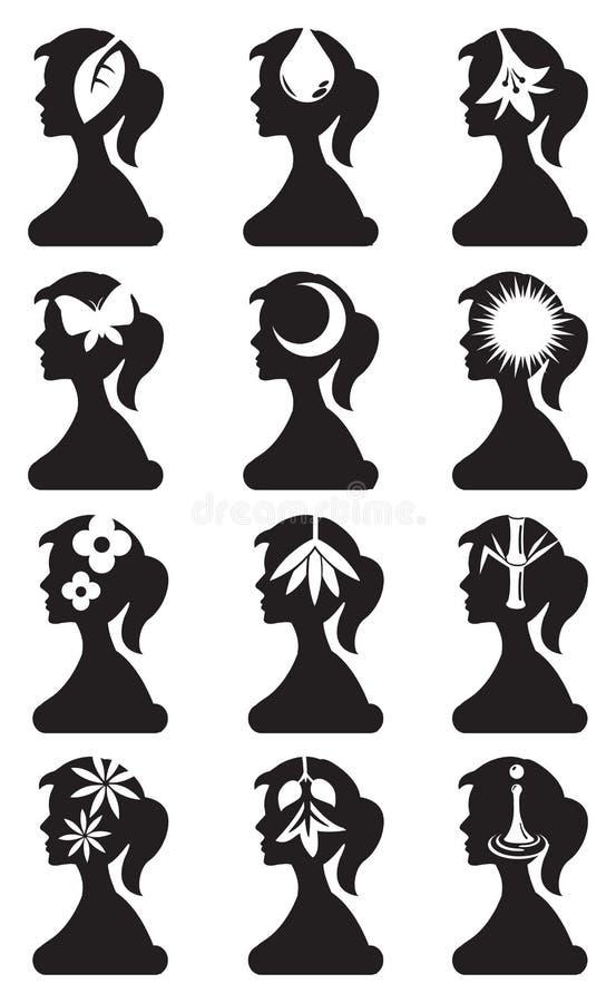 Flickakontur med den begreppsmässiga uppsättningen för symbolvektorsymbol stock illustrationer
