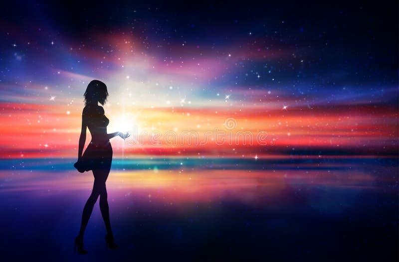 Flickakontur med en stjärna i hennes hand, magisk solnedgånghimmel royaltyfri illustrationer