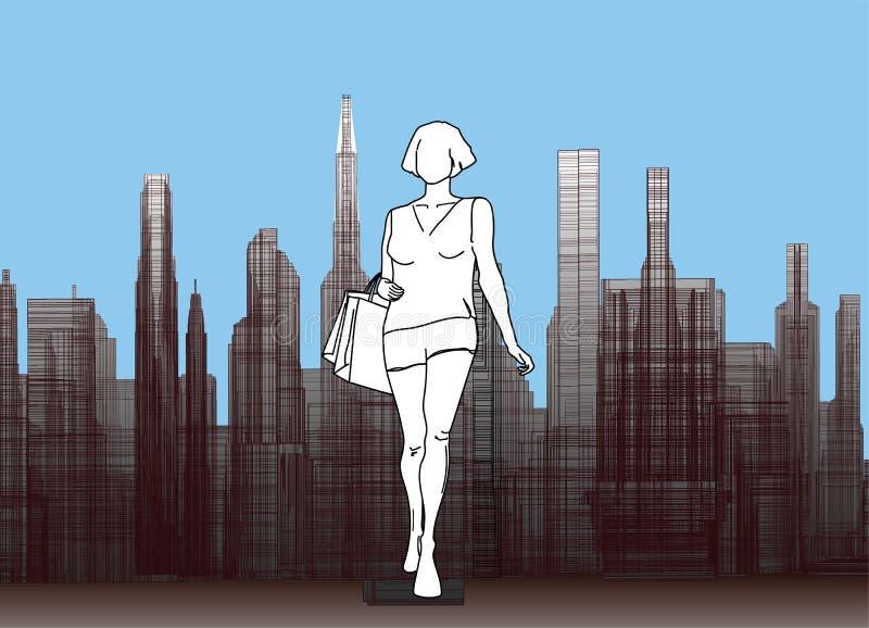 Flickakontur på bakgrunden av staden royaltyfri illustrationer