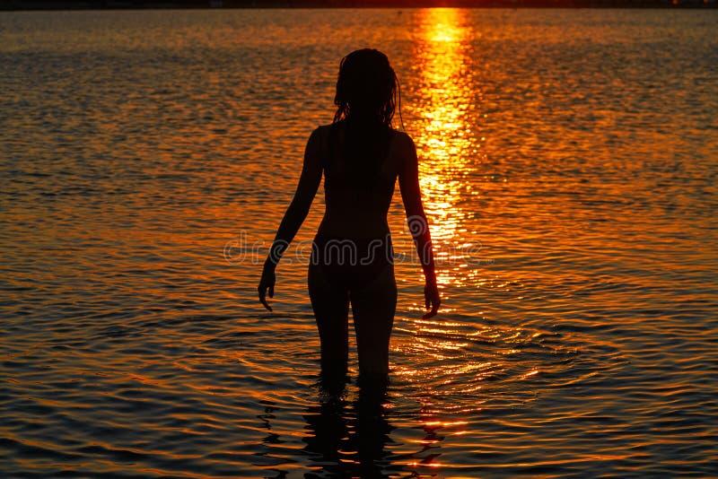 Flickakontur som ser strandsolnedgång royaltyfri fotografi