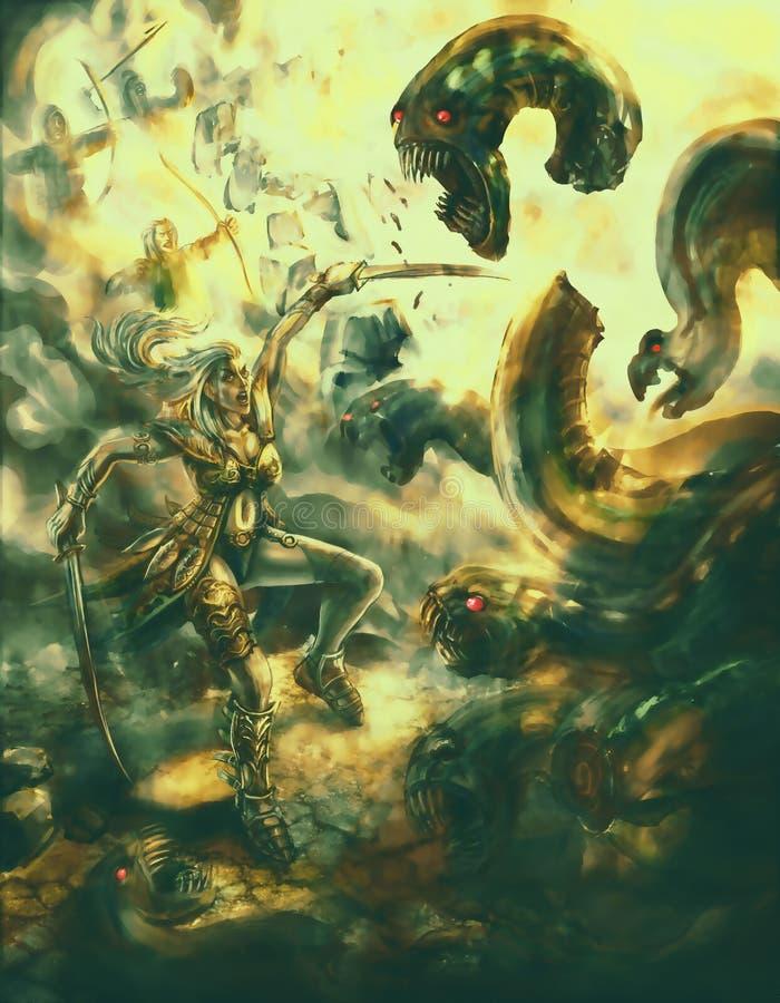 Flickakrigaren med ett svärd besegrar etthövdat monster royaltyfri illustrationer