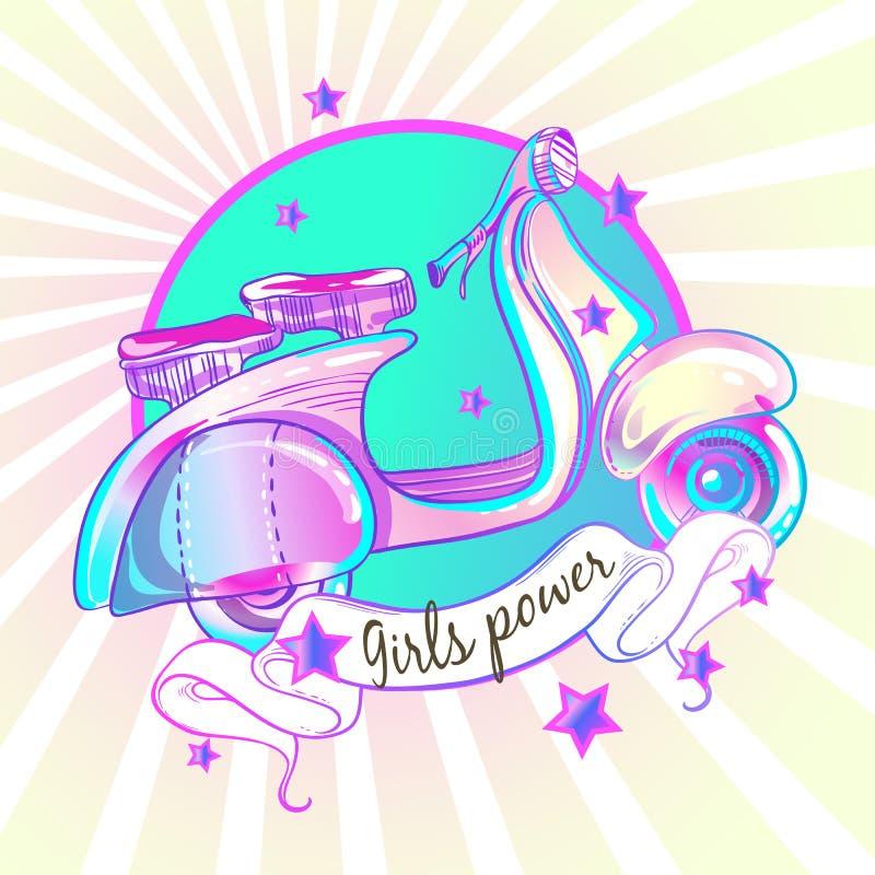 Flickaktigt härlig hög-specificerad retro sparkcykel för stil Vektorillustration i rosa pastellfärgade färger Flickamakt tappning stock illustrationer
