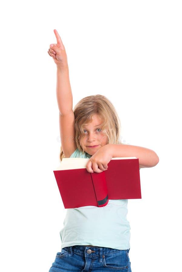 Flickaläsebok och visningpekfinger arkivbild