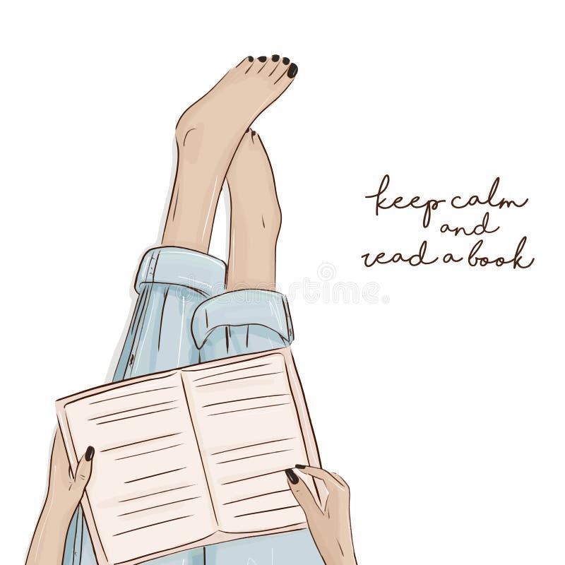 Flickaläseboken skissar illutration Vektorstadstecken Barfota kvinnainnehavbok på henne benatwork Studen royaltyfri illustrationer