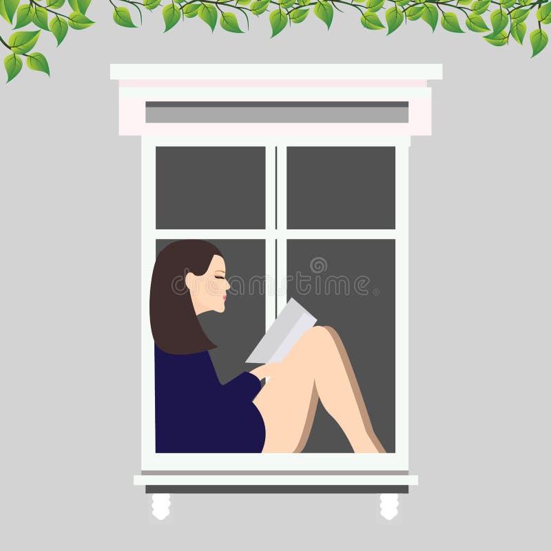 Flickaläseboksammanträde på fönsterillustrationen vektor illustrationer