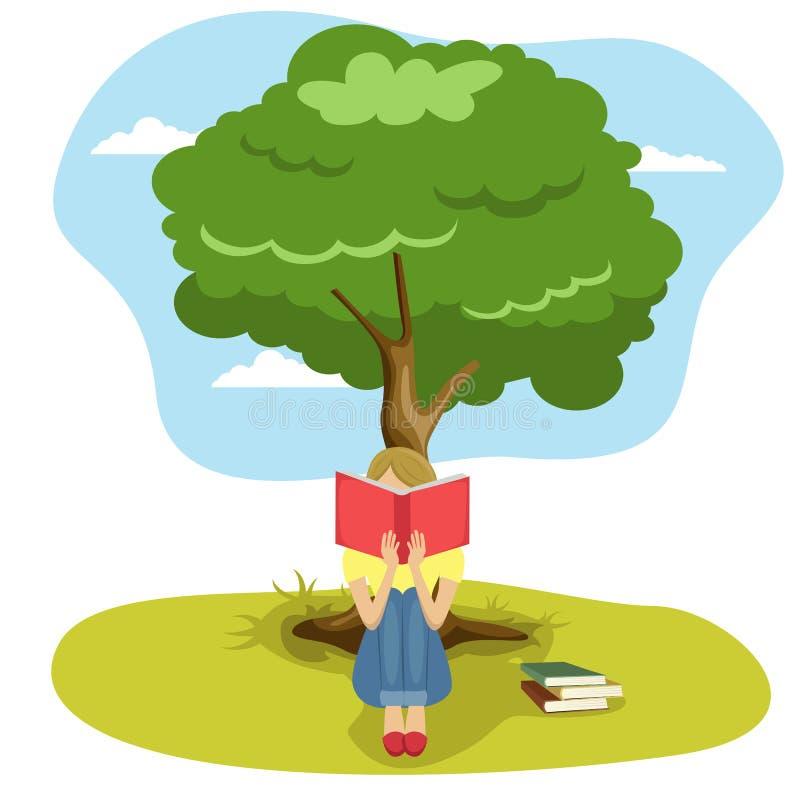 Flickaläseboksammanträde under träd av vishet stock illustrationer