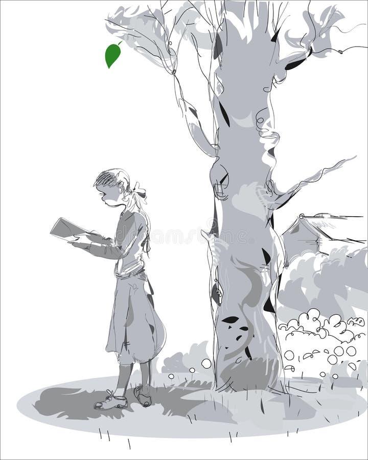 Flickaläsning i en parkera royaltyfri illustrationer