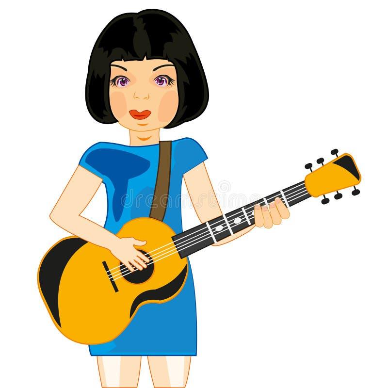 Flickalekar på gitarren vektor illustrationer