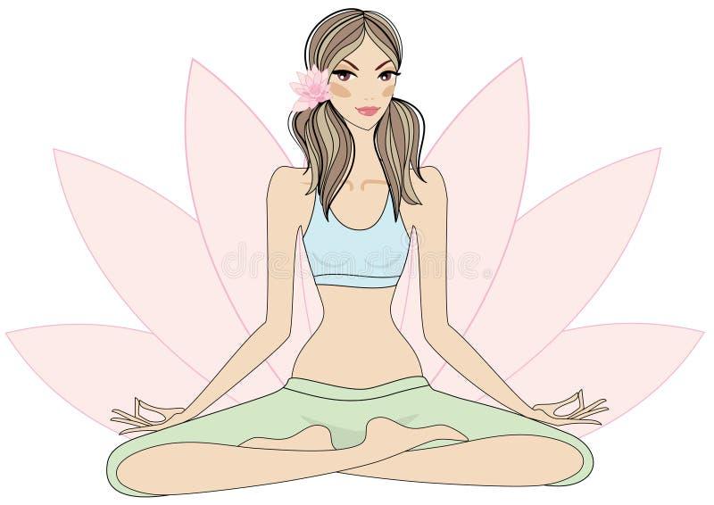 flickalotusblommar poserar yoga royaltyfri illustrationer