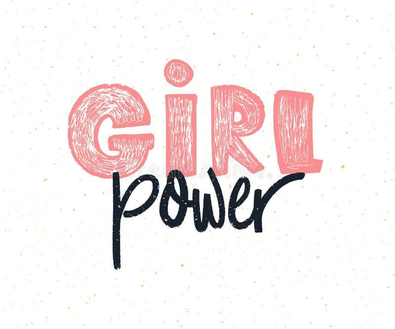 Flickamakt Överskrift för handbokstäverfeminism Feministisk slogan stock illustrationer