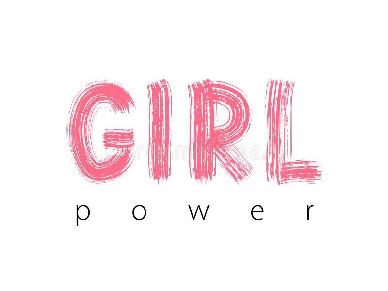 Flickamakt Handbokstäver Gullig söt design för tryckkvinnaskjortan, kort, klistermärke, baner, affisch Feminismslogan vektor illustrationer