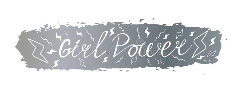 Flickamaktuttryck av slogan på bakgrunden av en borsteslaglängd av silverfärg stock illustrationer