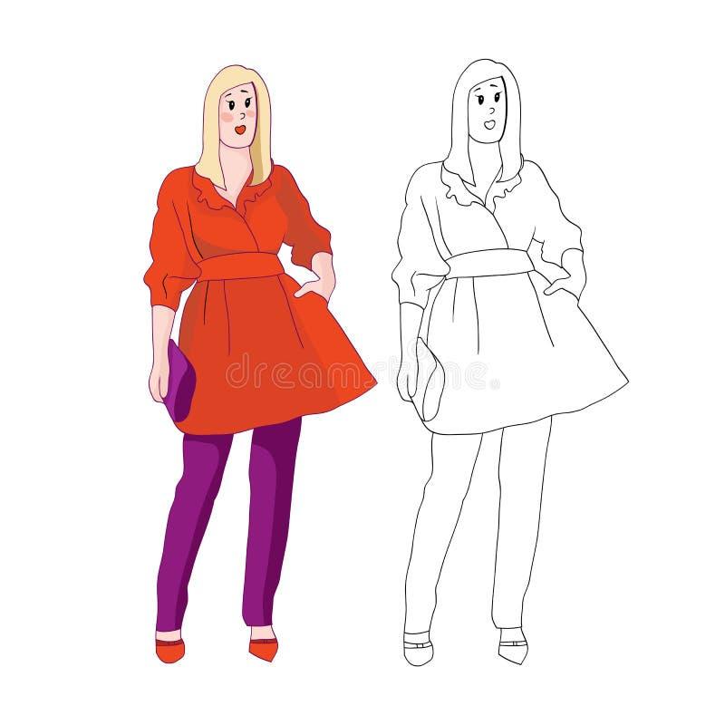Flickamodell stock illustrationer